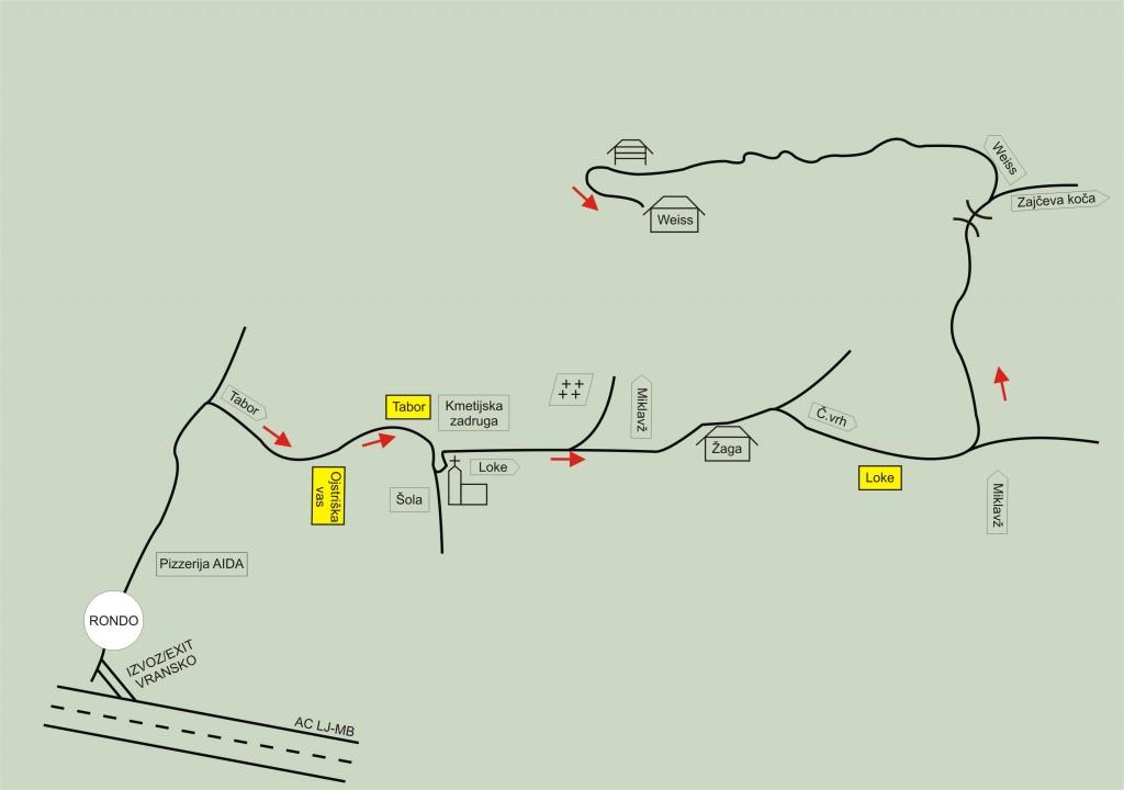 Tale skica vam lahko pomaga najti pot do tabornega prostora. Če želite podrobnejše informacije (zemljevid, fotografije itd.), poglejte na njihovo spletno stran.